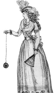 """A 1791 illustration of a woman playing with an early version of the yo-yo, then known as a """"bandalore"""" Public Domain, https://commons.wikimedia.org/w/index.php?curid=594119"""