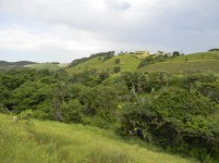 A view across the river valley with the typical KwaZulu-Natal hills in the background