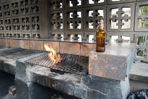 Late evening bbq and beer