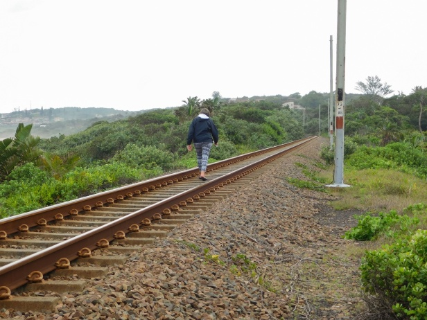 Walking along the railway line