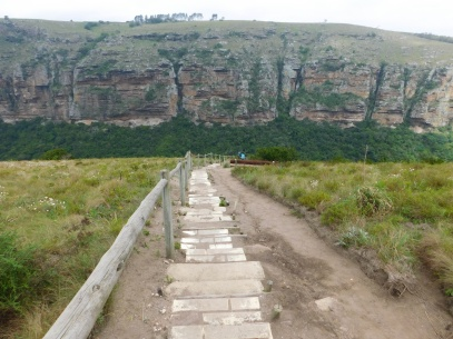 Stone steps leading down into the caves - Lake Eland Nature Reserve