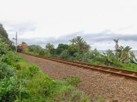Train approaching through the cutting