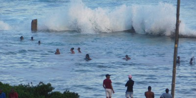 Waves breaking over the tidal pool at high tide